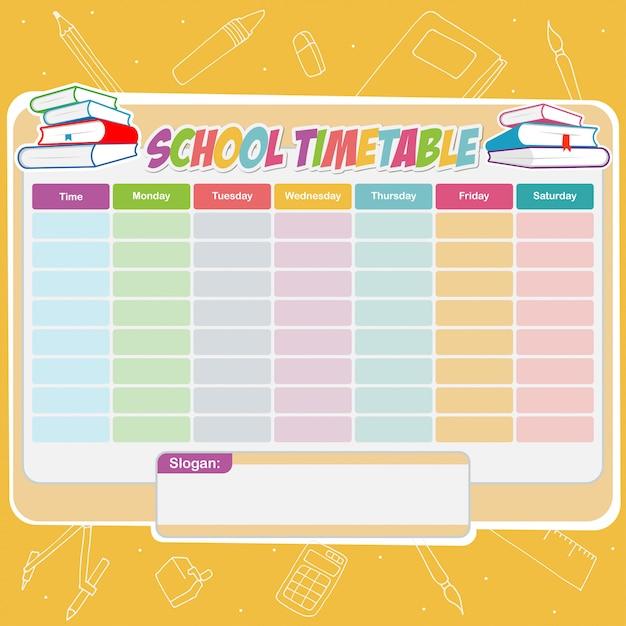 Horário escolar Vetor Premium