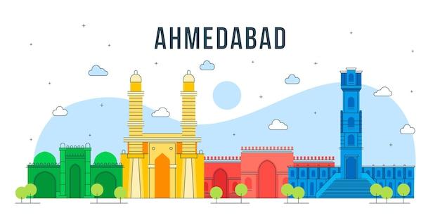 Horizonte colorido de ahmedabad Vetor grátis