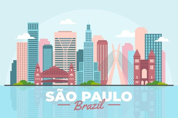 Horizonte colorido de são paulo brasil Vetor grátis