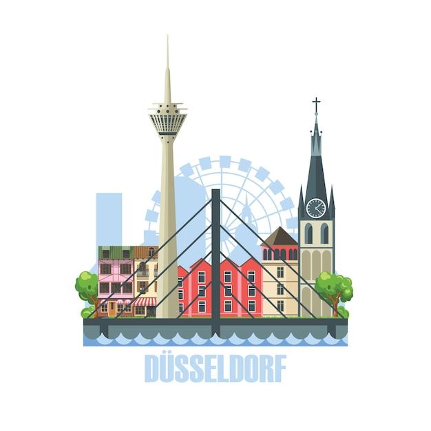 Horizonte da cidade de dusseldorf. paisagem da cidade com edifícios arquitetônicos antigos Vetor Premium