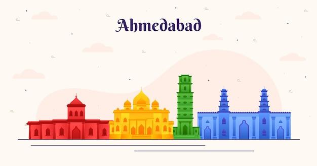 Horizonte de ahmedabad de design colorido Vetor grátis