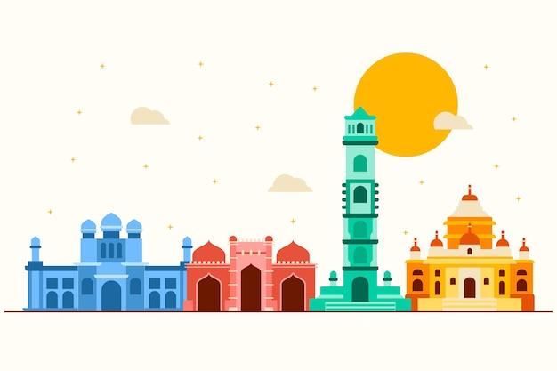 Horizonte de ahmedabad de estilo colorido Vetor grátis
