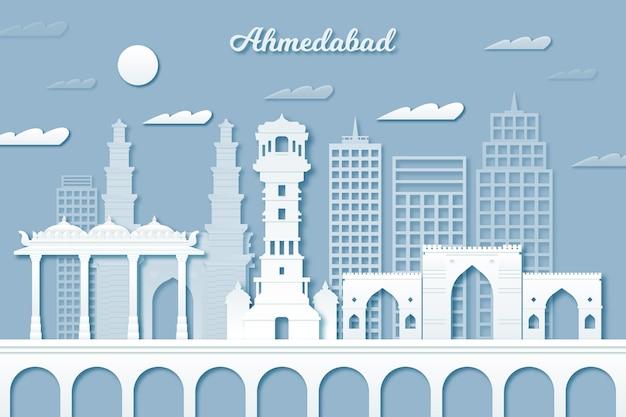 Horizonte de ahmedabad em estilo papel Vetor grátis