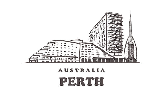 Horizonte de perth, austrália Vetor Premium