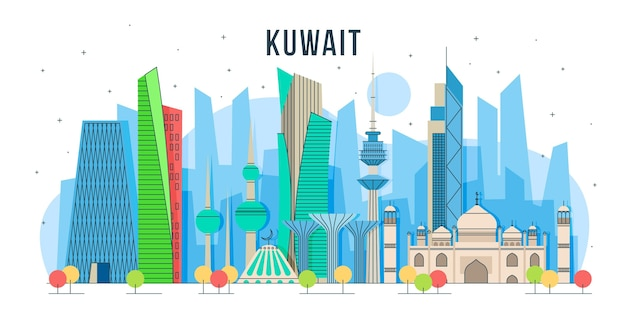 Horizonte kuwait com design colorido Vetor grátis