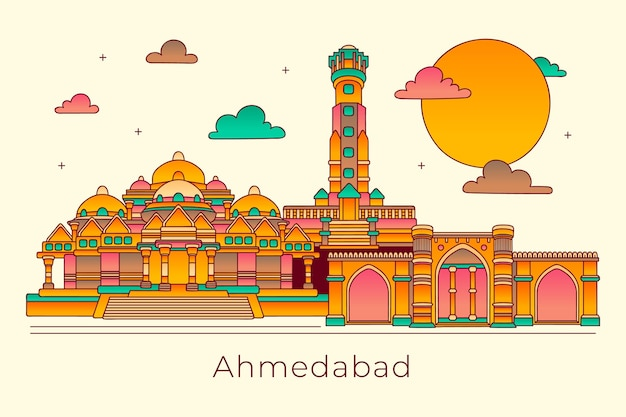 Horizonte linear de ahmedabad Vetor Premium