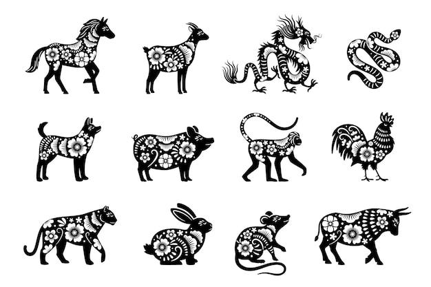 Horóscopo do chinês tradicional com flores. conjunto de animais do ano novo chinês, desenhos de tigres e cobras, mascotes de dragão e porco Vetor Premium