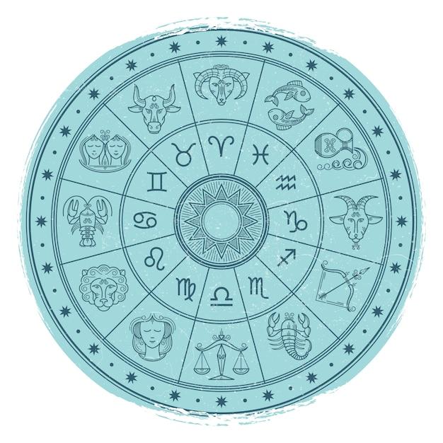Horóscopo do grunge assina no círculo de astrologia Vetor Premium