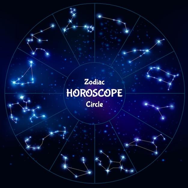 Horóscopo do zodíaco realista em forma de círculo com coleção de constelações astrológicas no céu noturno Vetor grátis