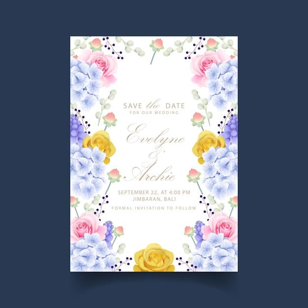 Hortênsias e rosas florais de convite de casamento Vetor Premium