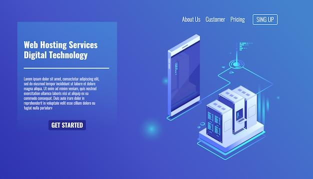 Hospedagem de sites e aplicativos da web, rack de sala de servidores, troca de dados, tráfego de arquivos Vetor grátis