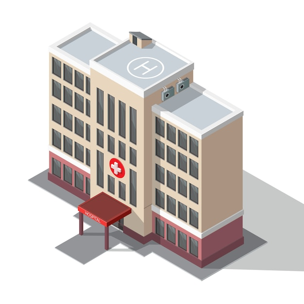 Hospital e ambulância. Vetor Premium