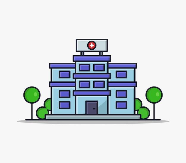 Hospital ilustrado em desenho animado Vetor Premium