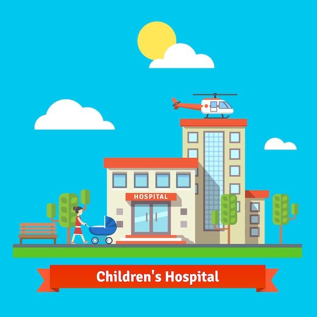 Hospital infantil e edifício da clínica Vetor grátis