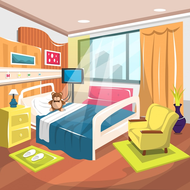 Hospital inpatient kids rehab room com cama grande Vetor Premium