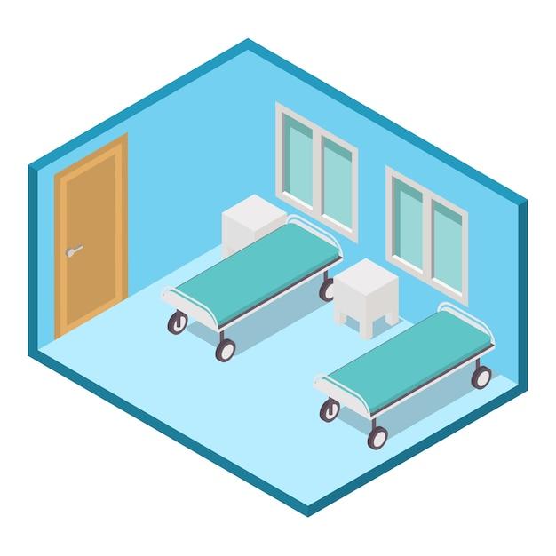 Hospital isométrica enfermaria clínica quarto interior. Vetor Premium