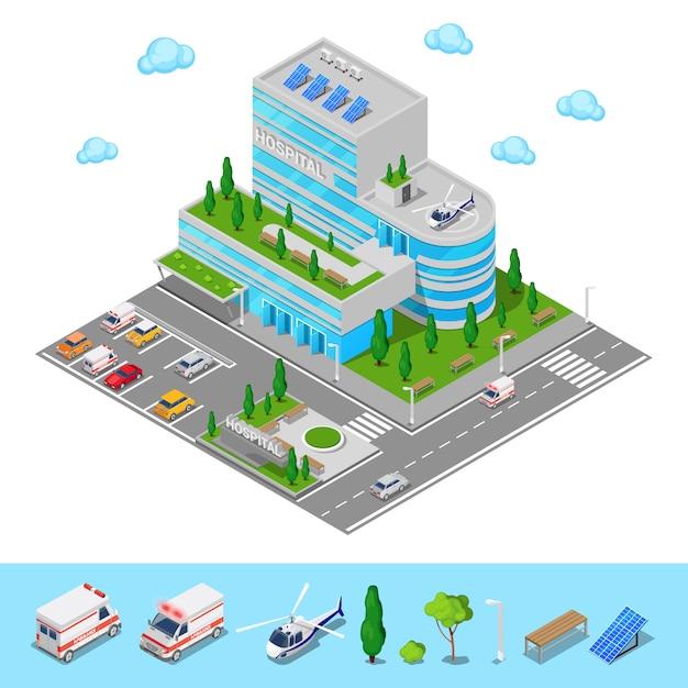 Hospital isométrico. edifício moderno do centro médico. ilustração vetorial Vetor Premium
