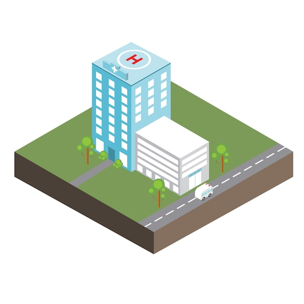 Hospital isométrico Vetor Premium