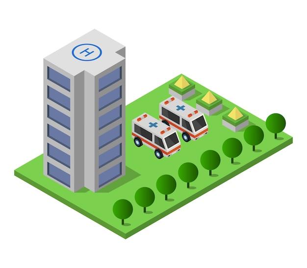 Hospital isométrico Vetor grátis
