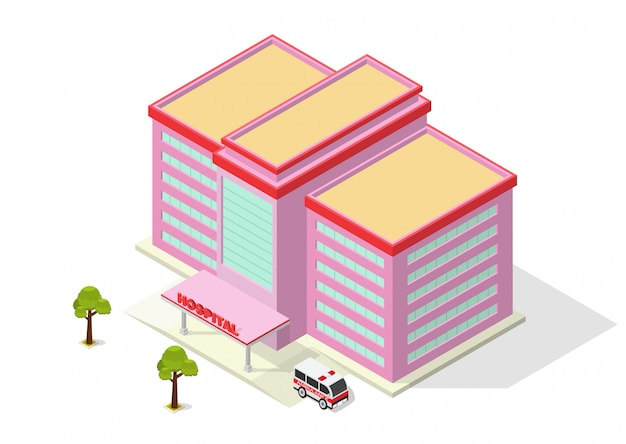 Hospital moderno isométrico edifício com ambulância Vetor Premium