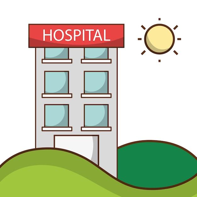Hospital para pessoas de saúde na montanha com sol Vetor Premium