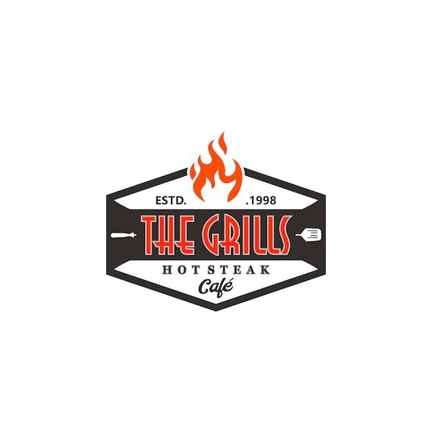 Hot grill logo templates Vetor Premium