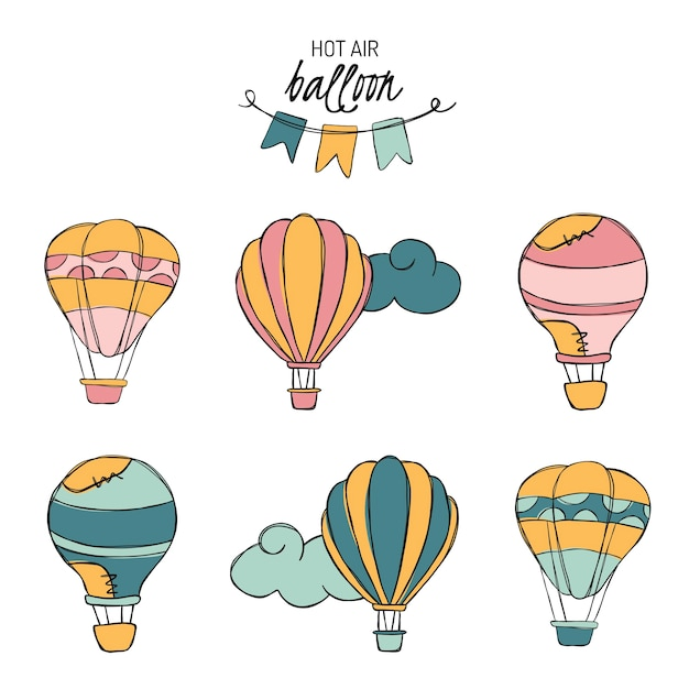 Hotairballon doodle vetor adesivos Vetor Premium
