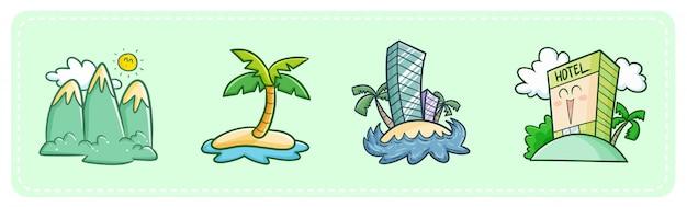 Hotéis e destinos turísticos kawaii fofos Vetor Premium