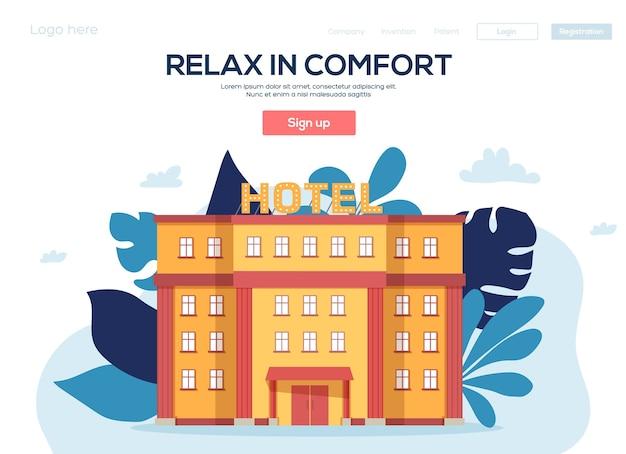 Hotéis flyear, banner da web, cabeçalho da interface do usuário, insira o site. textura do grão e efeito de ruído. Vetor Premium