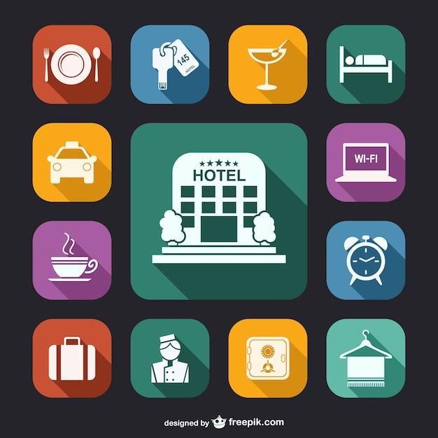 Hotéis ícones brancos embalar Vetor Premium