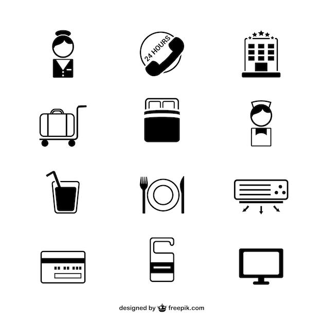 Hotéis ícones simples definir Vetor grátis