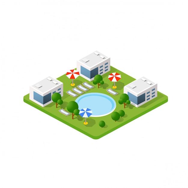 Hotel 3d isométrico com uma piscina Vetor Premium