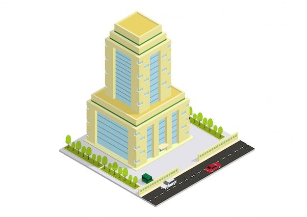 Hotel, apartamento ou prédio arranha-céu isométrico vector Vetor Premium