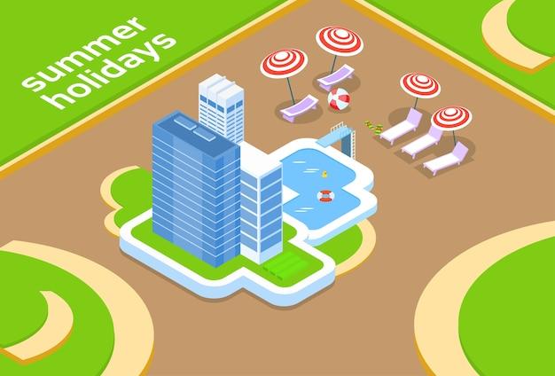 Hotel com projeto isométrico das férias de verão 3d da piscina Vetor Premium