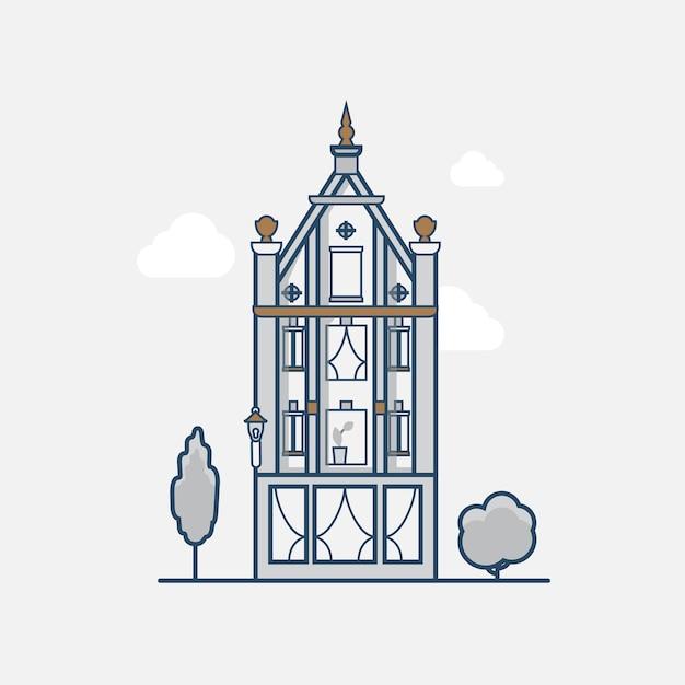 Hotel de construção gótica de arquitetura vintage. ícones de estilo simples de contorno de traço linear. coleção de ícones de arte de linha colorida. Vetor grátis