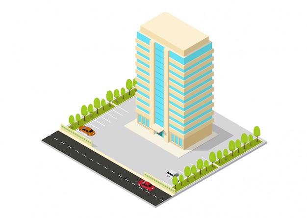 Hotel isométrico de vetor, apartamento, escritório ou prédio arranha-céu Vetor Premium