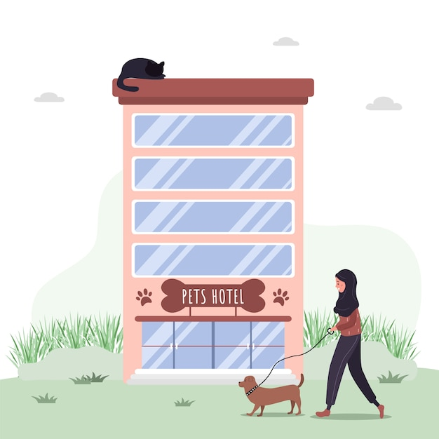 Hotel para animais de estimação. serviços de hospitais veterinários e hotéis de animais domésticos. centro de cuidados e exames de saúde de cães. Vetor Premium