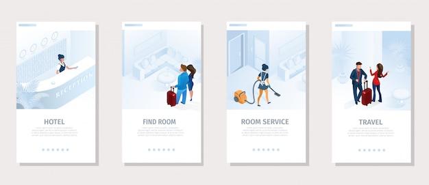 Hotel services travel vector banner de mídia social Vetor Premium