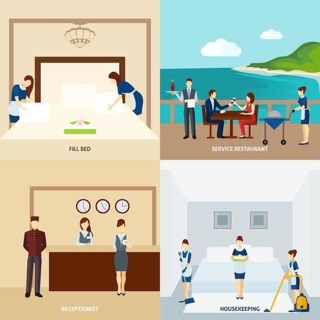 Hotel staff flat Vetor grátis