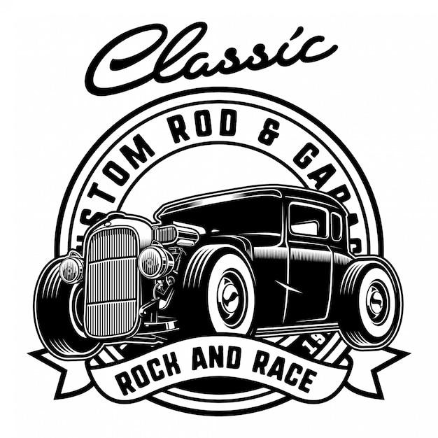 Hotrod clássico com distintivo Vetor Premium