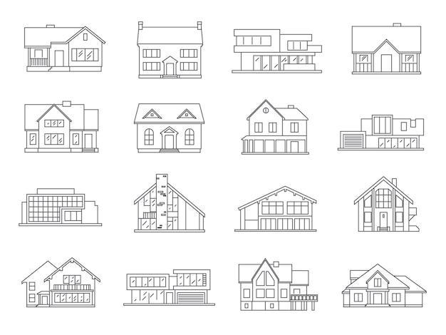 House icons flat set Vetor grátis