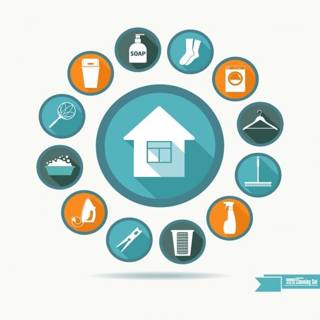 Housekeeping coleção ícone Vetor grátis