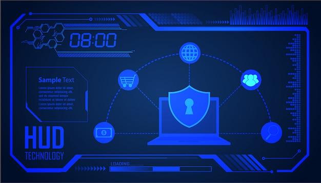 Hud cadeado fechado em fundo digital, segurança cibernética Vetor Premium