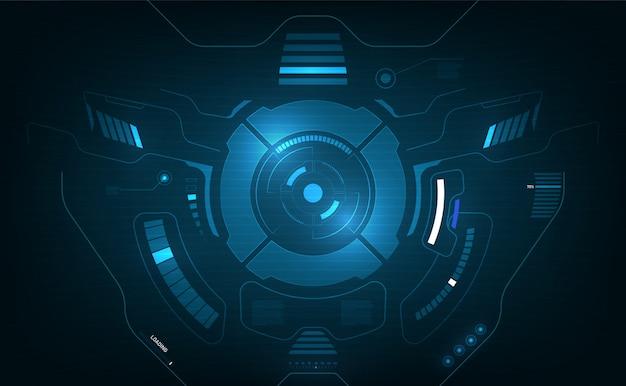 Hud interface aeronaves sistema gráfico tela conceito inovação projeto fundo Vetor Premium