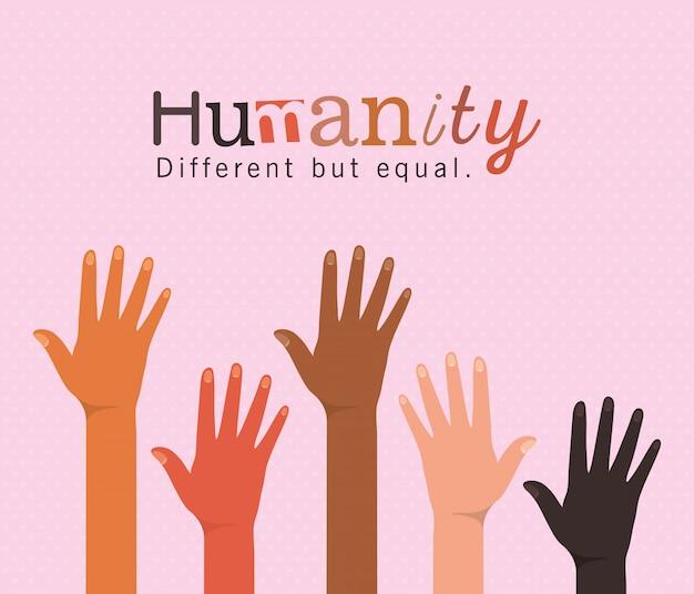 Humanidade diferente, mas igual e com diversidade aberta, design, pessoas, raça multiétnica e tema comunitário Vetor Premium