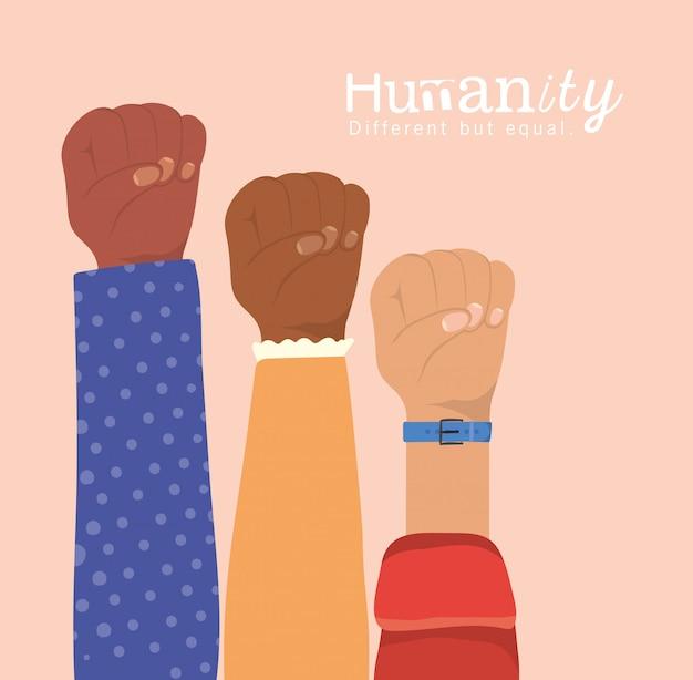 Humanidade diferente, mas igual e diversidade com punhos levantados, pessoas, raça multiétnica e tema comunitário Vetor Premium