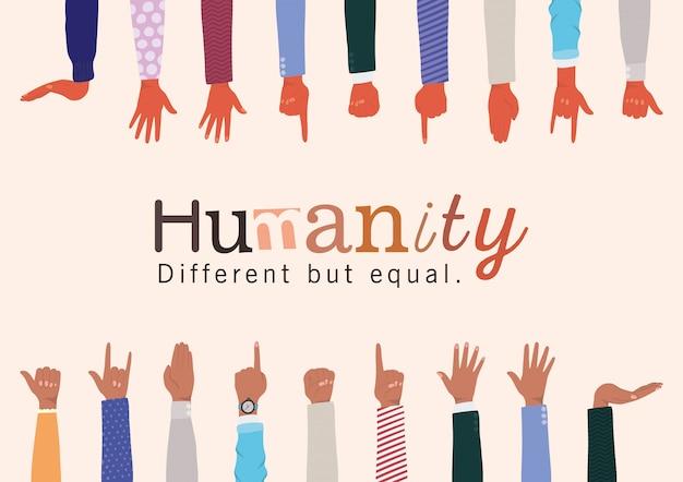 Humanidade diferente, mas igual e diversidade entrega design, pessoas, raça multiétnica e tema comunitário Vetor Premium
