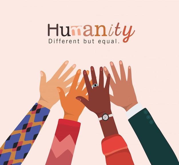 Humanidade diferente, mas igual e mãos da diversidade se tocando design, pessoas, raça multiétnica e tema comunitário Vetor Premium