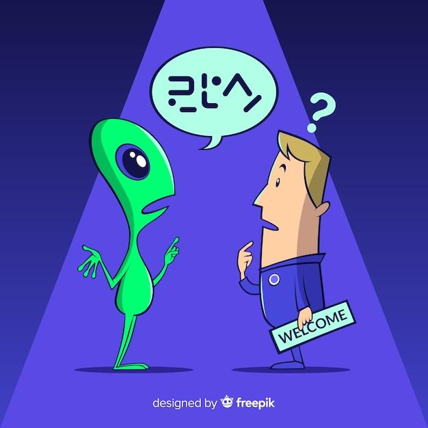 Humano e estrangeiro falando línguas diferentes backgroun Vetor grátis