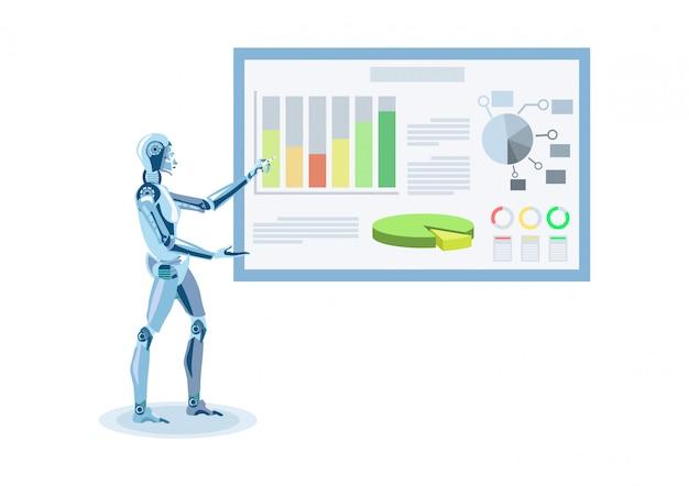 Humanóide fazendo apresentação ilustração plana Vetor Premium